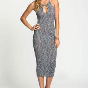 A+ Ellen Gray Keyhole Sweater Knit Midi Dress